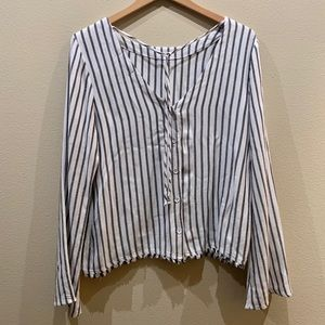 Cloth & Stone Striped Fringe Tie Blouse